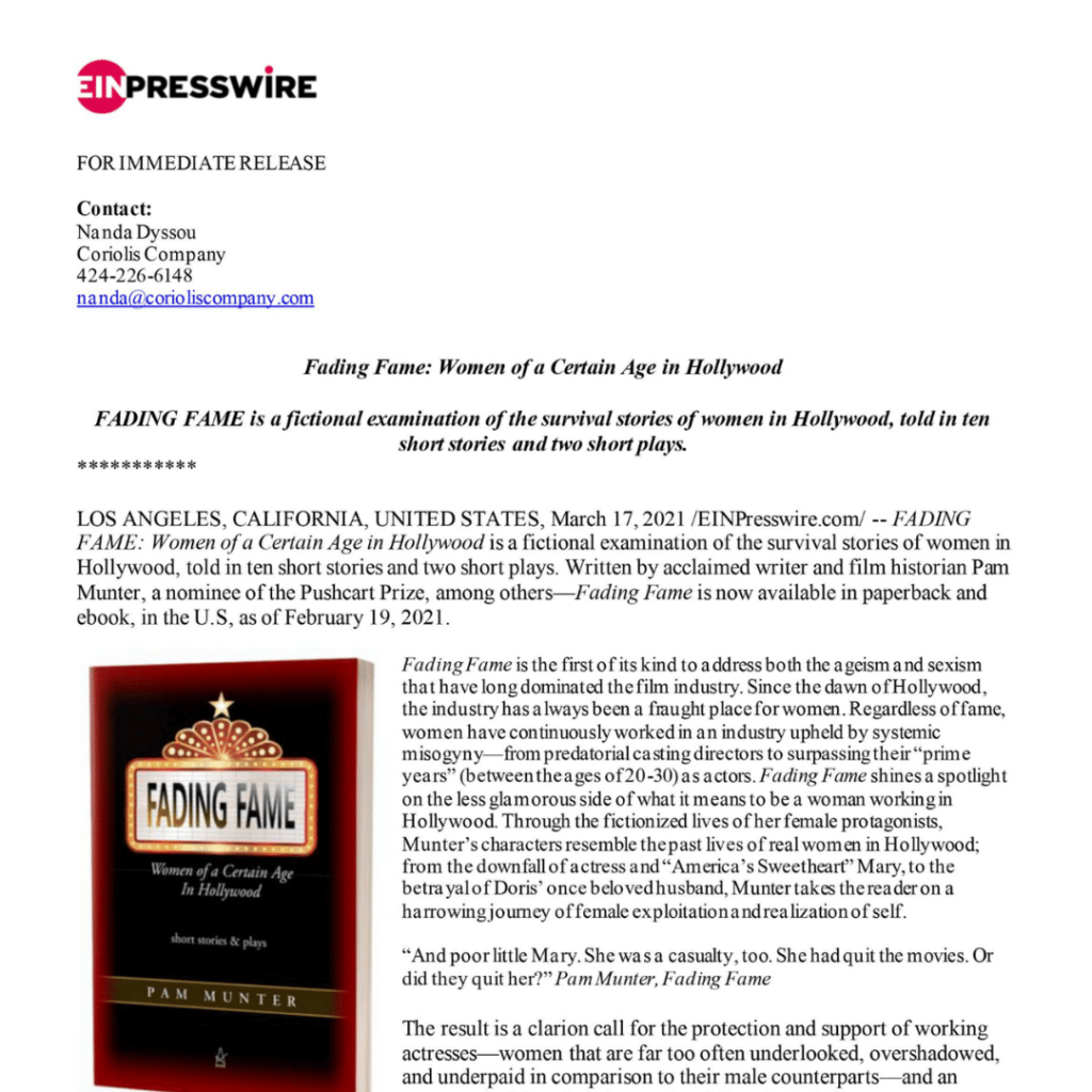 Fading Fame Press Release Preview